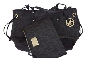 MICHAEL Michael Kors Satchel in Reversible Dark Sand Python with Logo