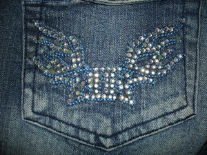 Rock & Republic Rhinestone Angel Vintage Punk Flare Leg Jeans