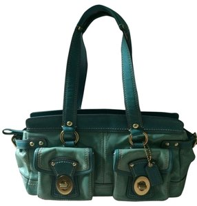 Coach Legacy Patent Leather Satchel in Turquoise