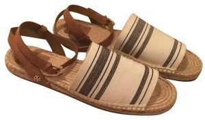 Tory Burch Awning Ivory/ Blk Stripe Sandals