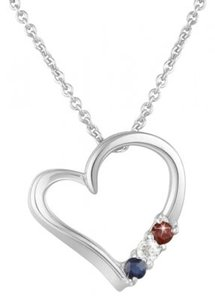 unknown 1/2 Carat Garnet, White & Blue Sapphire Patriotic Heart Pendant in Sterling Silver