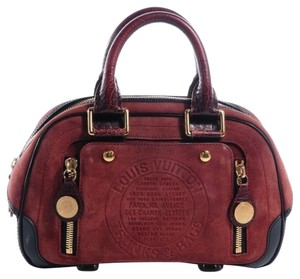 Louis Vuitton Suede Red Satchel in Brown