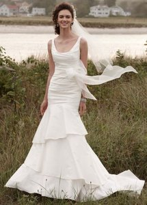 David's Bridal Taffeta Scoop Neck Ruched Bridal Gown With Tiering Wedding Dress