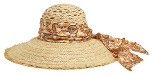 Gucci Gucci Straw Wide Brimmed Hat With Paisley Silk Band 339074 KMR60 9276. MEDIUM