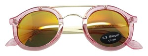 A.J. Morgan New Glossy Translucent Pink Frame - Pink Iridescent Mirror Lens - Gold Tone Brow Bar Retro Sunglasses 400UV Protection