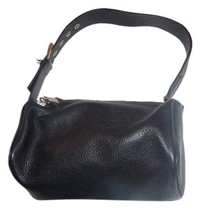 Prada Pebbled Chrome Hardware Perfect Everyday Has Cards/dust Satchel in Black