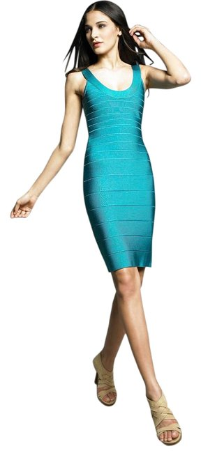 Item - Blue Turquoise Dragonfly Sydney Bandage Signature Essential U Scoop Neck Mid-length Night Out Dress Size 6 (S)