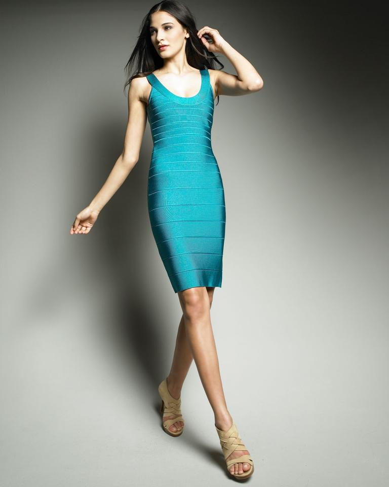 35975ef6502e Hervé Leger Blue Turquoise Dragonfly Sydney Bandage Signature Essential U  Scoop Neck Mid-length Night Out Dress Size 6 (S) - Tradesy