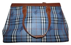 Burberry Horseferry Check Plaid With Knights Rare Print Huge And Spacious Multiple Compartment Satchel in Blue, Red, White, & Black