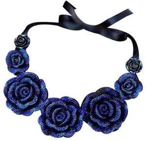 Other Blue flowers necklace with black ribbon