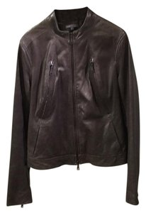 Vince Grey/brown Leather Jacket