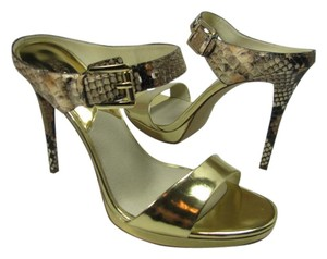 Michael Kors Gold Slide Heel Gold/multi snake Sandals