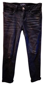 Les Halles Distressed Sexy Designer Kylie Jenner Capri/Cropped Denim-Distressed