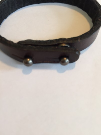 Dillion Rogers Fleur de lis Brown Diamond Leather Bracelet