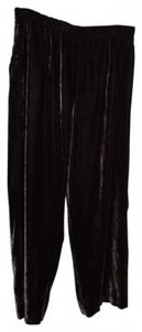 Coldwater Creek L Crushed Stretch Velvet Baggy Pants Taupe brown