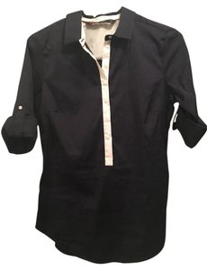 Zara Button Down Shirt Navy Blue