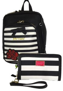 Betsey Johnson Medium Black Front Zip Pocket Backpack