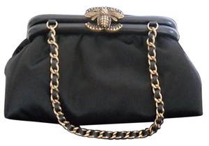Chanel Bee Bug Satin Evening Black Clutch