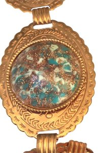 Other 1950'S COPPER CONCHO BELT WITH TURQUOISE COPPER CONFETTI LUCITE 25