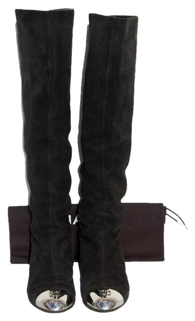 Item - Black / Silver Suede Silver-tone Cap-toe Over The Knee Length 37.5 Boots/Booties Size US 7.5