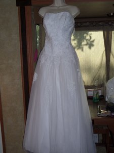 David's Bridal Strapless Gown With Lace Bodice Wg3361 Wedding Dress