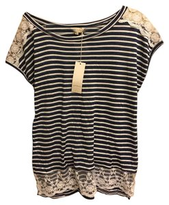 Anthropologie Ambra Navy And Ivory Striped Tunic