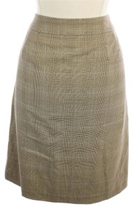 Ann Taylor Houndstooth Plaid Pleated Skirt Beige