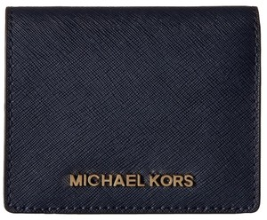 Michael Kors NEW Michael Kors MK Saffiano leather Card Holder case Mini wallet Navy