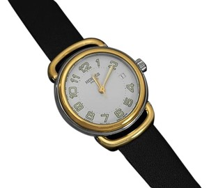 Hermès Hermes Pullman Ladies White Dial Watch with Date - 18K Gold Plated & Stainless Steel