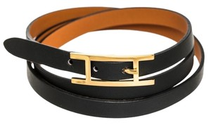 Hermès Hermes Black Leather Gold H Buckle Wrap Bracelet