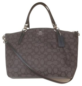 Coach Fabric Crossbody New With Tags Jacquard Satchel in Black / Smoke