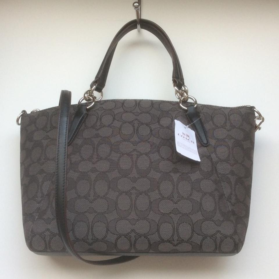 8092e78790ac Coach Kelsey Otl Small Black   Smoke Signature Jacquard Fabric Satchel