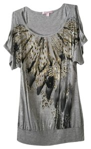 Romeo & Juliet Couture Top Grey W/ Metallic Artwork