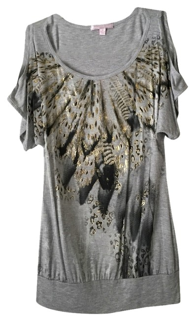 Preload https://item3.tradesy.com/images/romeo-and-juliet-couture-top-grey-w-metallic-artwork-1740142-0-0.jpg?width=400&height=650