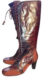 Kenzie Henner 70s Mod Fall Colors Tall Boot Orange, Rust, Brown, Bronze Boots