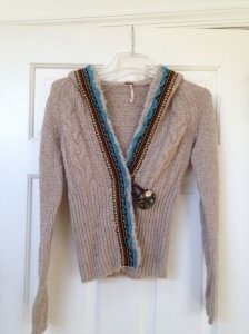 Free People Hooded Button Closure Sweater
