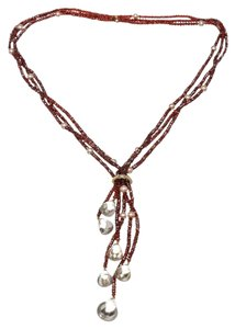 Baccarat Baccarat Red and 18k Gold Rondelle Bead Garnet Crystal Lariat Necklace