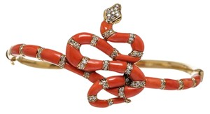 Carrera y Carrera Carrera y Carrera 18k Gold and Red Coral Diamond Snake Bangle Bracelet