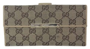 Gucci Authen Gucci Gg Brown & Beige Monogram Continental Trifold Wallet