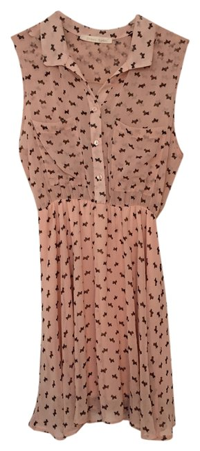 Item - Peach Sheer Scotty Dogs Above Knee Short Casual Dress Size 8 (M)
