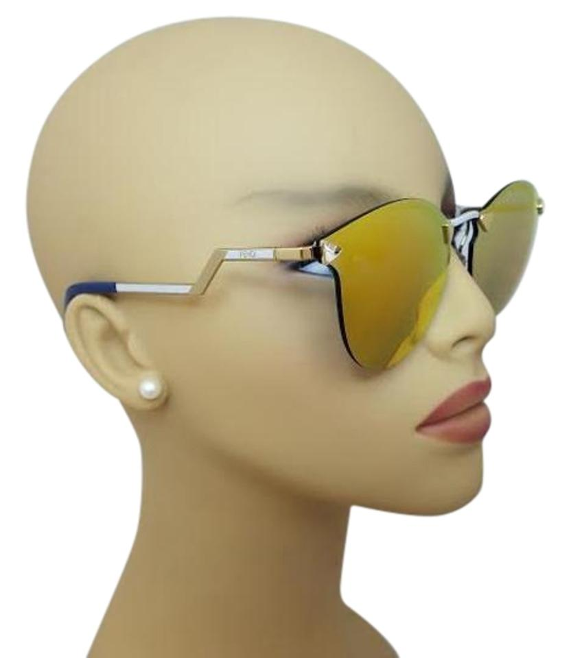 Fendi Sunglasses Reflective Jfgsq Gold Eye 75Off Rimless Cat Ff040s Mirror Retail DH29EI