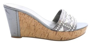 Marc Fisher Woven Leather Silver Wedges