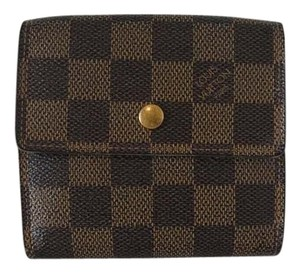 Louis Vuitton Authentic Louis Vuitton Elise Damier Ebene Canvas Tri-fold Wallet