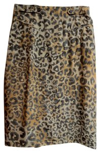 Dana Buchman Animal Print Sz 10 Skirt Beige/Brown