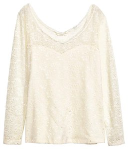 H&M Lace White Stretch Creme Ivory Top Natural White