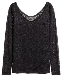 H&M Lace Stretch Top Black