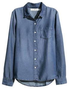 H&M Chambray Lyocell Pocket Button Down Shirt Dark Denim Blue