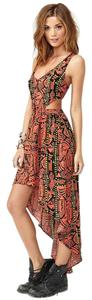 Orange Maxi Dress by Nasty Gal Tribal Cut Out Caged Hi Low