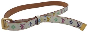 Louis Vuitton White Multicolore LV Monogram leather Louis Vuitton waist belt