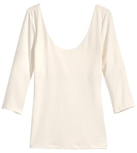H&M Scoop Neck Stretch Ballet Top Natural White